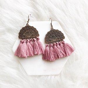 Jewelry - boho bronze & magenta tassel fringe earrings
